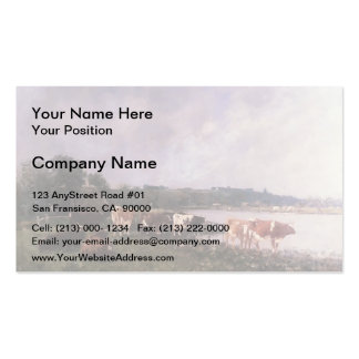 Eugene Boudin- Cows on Riverbanks of the Touques Double-Sided Standard Business Cards (Pack Of 100)
