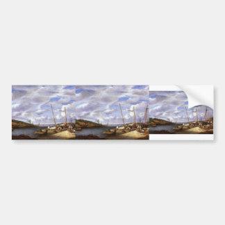 Eugene Boudin- Douarnenez, Fishing Boats,Dockside Bumper Stickers