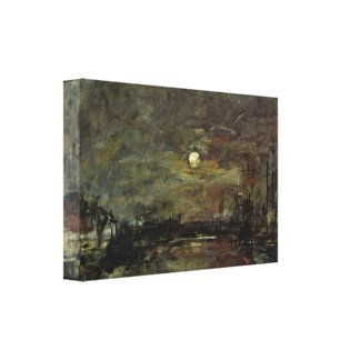Eugene Boudin - Dusk over the port of Le Havre Gallery Wrap Canvas