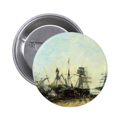 Eugene Boudin- el puerto Portrieux durante la baja Pin Redondo De 2 Pulgadas