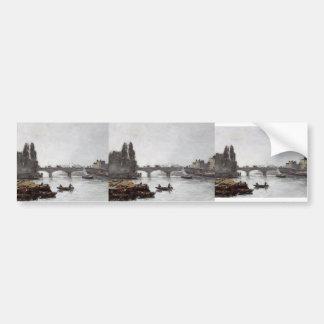 Eugene Boudin-Ruán, Pont Corneille, efecto de nieb Pegatina De Parachoque