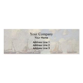 Eugene Boudin-Scheveningen Boats Aground on Shore Business Card Template