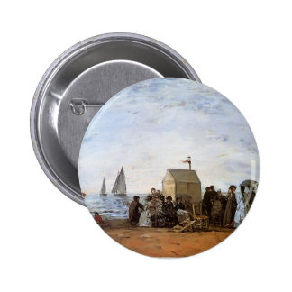 Eugene Boudin- The beach at Trouville Pinback Button