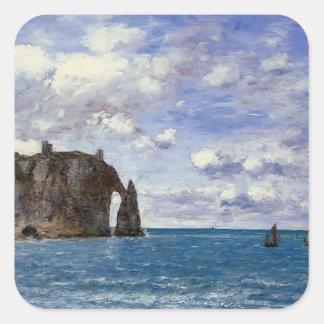 Eugene Boudin- The Cliffs at Etretat Sticker