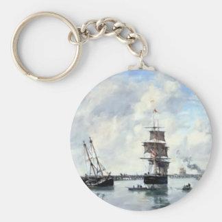 Eugene Boudin- Trouville, piers, high tide Key Chain