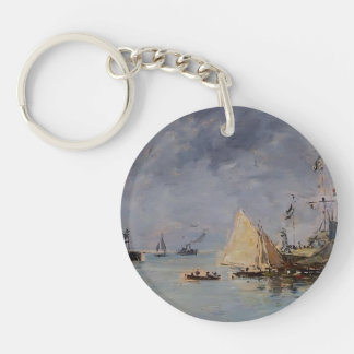 Eugene Boudin- Trouville. The Jettys High Tide. Acrylic Keychains