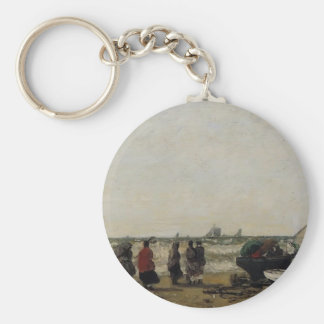Eugene Boudin- Women on the Beach, Rough Seas Key Chains