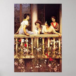 Eugene de Blaas - Balcony Academicism Painting Poster