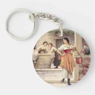 Eugene de Blaas- Flirtation at the Well Single-Sided Round Acrylic Keychain