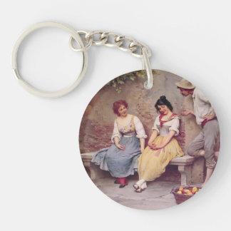 Eugene de Blaas- The Flirtation Single-Sided Round Acrylic Keychain