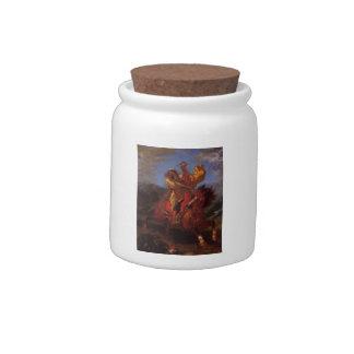 Eugene Delacroix- An Arab Horseman at the Gallop Candy Jar