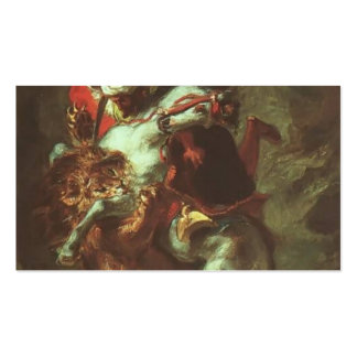 Eugene Delacroix- Arab Horseman Attacked by Lion Business Cards