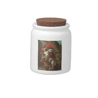 Eugene Delacroix- Arab Horseman Attacked by Lion Candy Jars
