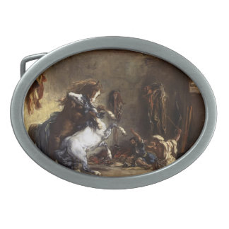 Eugene Delacroix- Arab Horses Fighting in a Stable Oval Belt Buckles
