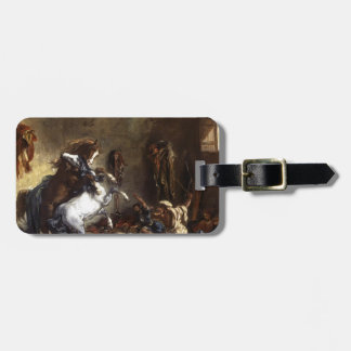 Eugene Delacroix- Arab Horses Fighting in a Stable Tag For Luggage