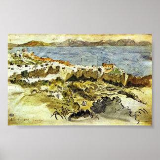Eugene Delacroix - bahía de Tánger en Marruecos Póster