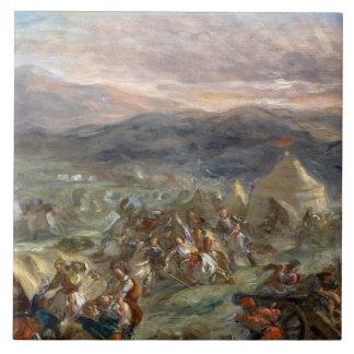 Eugene Delacroix - Botzaris sorprende a los turcos Azulejo Cuadrado Grande