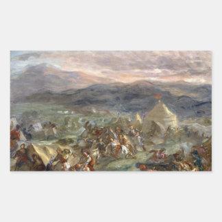 Eugene Delacroix - Botzaris sorprende a los turcos Pegatina Rectangular