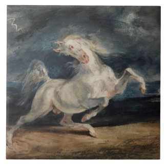 Eugene Delacroix - caballo asustado por el Azulejo Cuadrado Grande