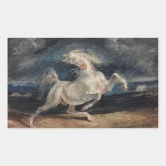 Eugene Delacroix - caballo asustado por el Pegatina Rectangular