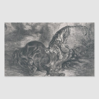 Eugene Delacroix - caballo salvaje derribado por Pegatina Rectangular