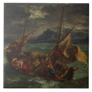 Eugene Delacroix - Cristo en el mar de Galilea Azulejo Cuadrado Grande