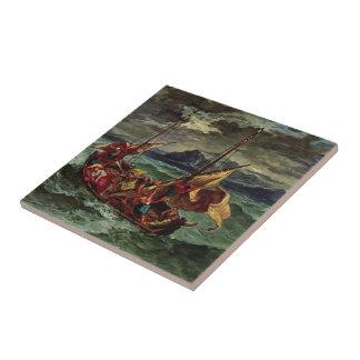 Eugene Delacroix- Cristo en el mar de Galilea Azulejo Cuadrado Pequeño