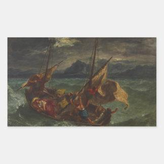 Eugene Delacroix - Cristo en el mar de Galilea Pegatina Rectangular