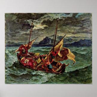 Eugene Delacroix - Cristo en el mar de Galilea Póster