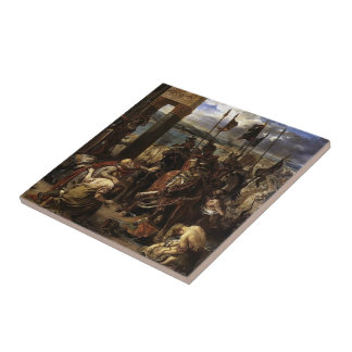 Eugene Delacroix-Crusaders entry to Constantinople Tiles