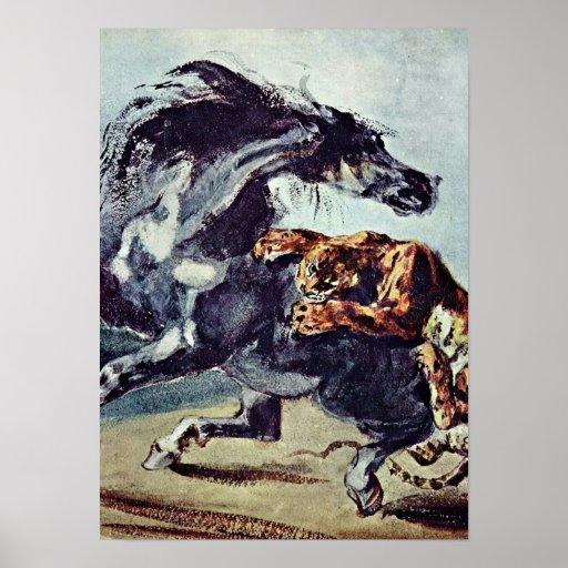 Eugene Delacroix - el tigre ataca un caballo Póster