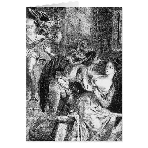 Eugene Delacroix: Faust rescues Marguerite Greeting Card