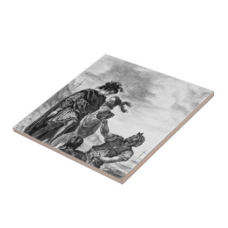 Eugene Delacroix: Hamlet and Horatio Small Square Tile