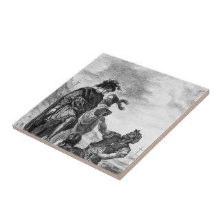Eugene Delacroix: Hamlet y Horatio Azulejo Cuadrado Pequeño