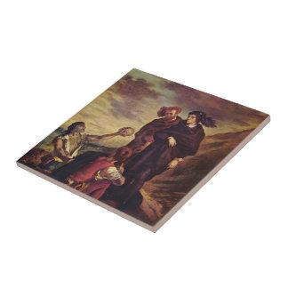 Eugene Delacroix- Hamlet y Horatio en el cementeri Azulejo Cuadrado Pequeño