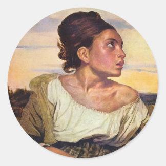 Eugène Delacroix - huérfano en el cementerio Etiqueta Redonda