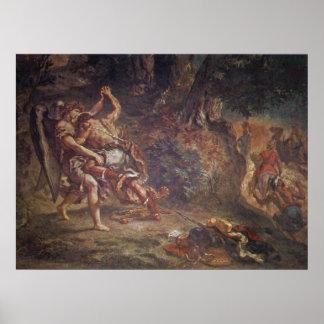 Eugene Delacroix - Jacob que lucha con ángel Póster