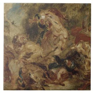 Eugene Delacroix - la caza del león Azulejo Cuadrado Grande