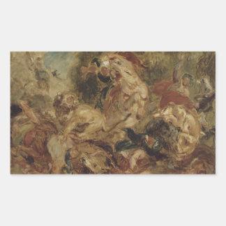 Eugene Delacroix - la caza del león Pegatina Rectangular