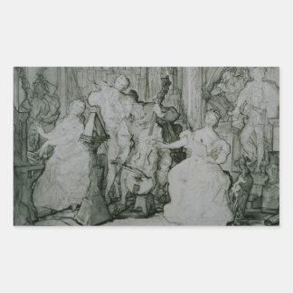 Eugene Delacroix - Le Roy Rene Pegatina Rectangular