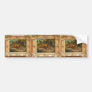 Eugene Delacroix- Lion and alligator Bumper Stickers