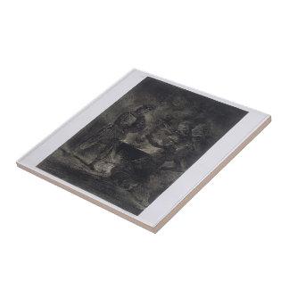 Eugene Delacroix: Macbeth y las brujas Azulejo Cuadrado Pequeño