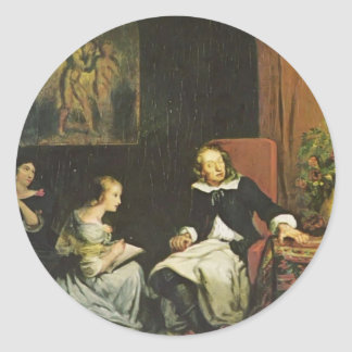 Eugene Delacroix:Milton dictated to his daughters Classic Round Sticker