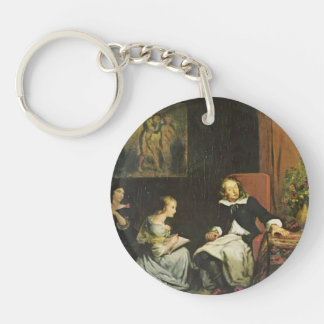 Eugene Delacroix:Milton dictated to his daughters Single-Sided Round Acrylic Keychain