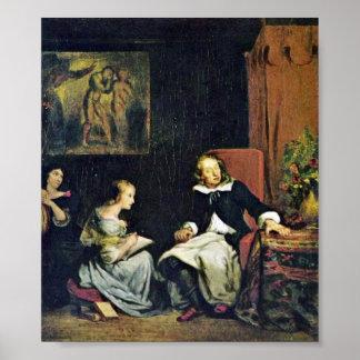 Eugene Delacroix - Milton dictating Paradise Poster