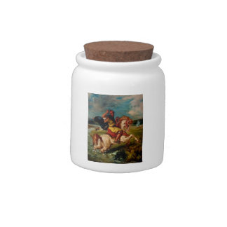 Eugene Delacroix-Moroccan Horseman Crossing a Ford Candy Dish