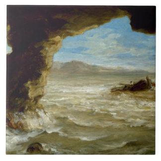 Eugene Delacroix - naufragio en la costa Azulejo Cuadrado Grande
