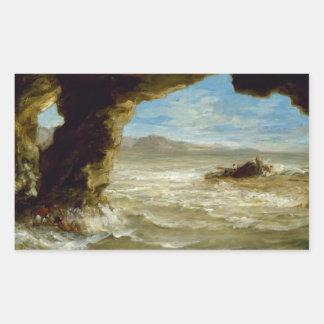Eugene Delacroix - naufragio en la costa Pegatina Rectangular