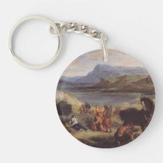 Eugene Delacroix- Ovid among the Scythians Single-Sided Round Acrylic Keychain