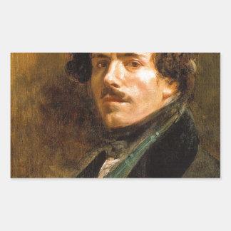 Eugene Delacroix Pegatina Rectangular